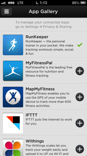 Up by jawbone runkeeper
