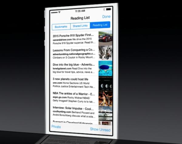 Reading List for Safari iOS 7