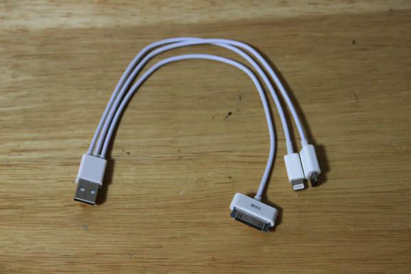 マルチ充電ケーブル Micro USB + 30ピン + Lightning 3in1充電ケーブル