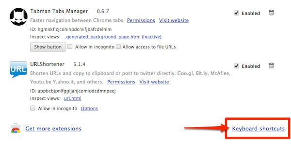 Google Chromeでキーボードショートカットの変え方