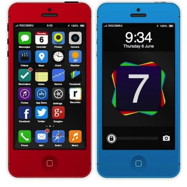 iPhone 5sのiOS7モックアップ