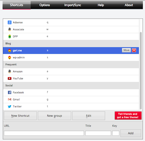 Site launcher for Google Chrome