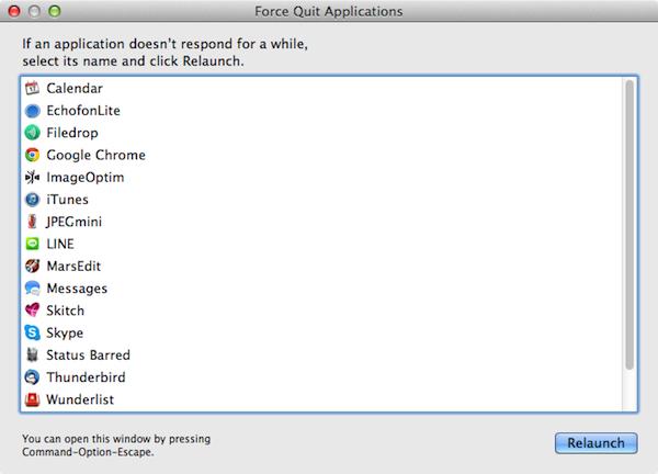 Mac force close application