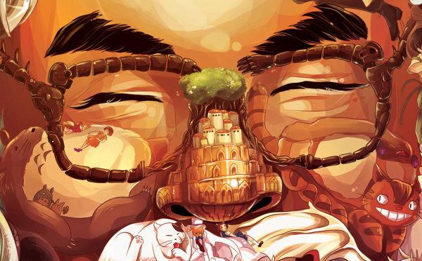 ジブリキャラクターで描かれた宮崎駿のイラスト