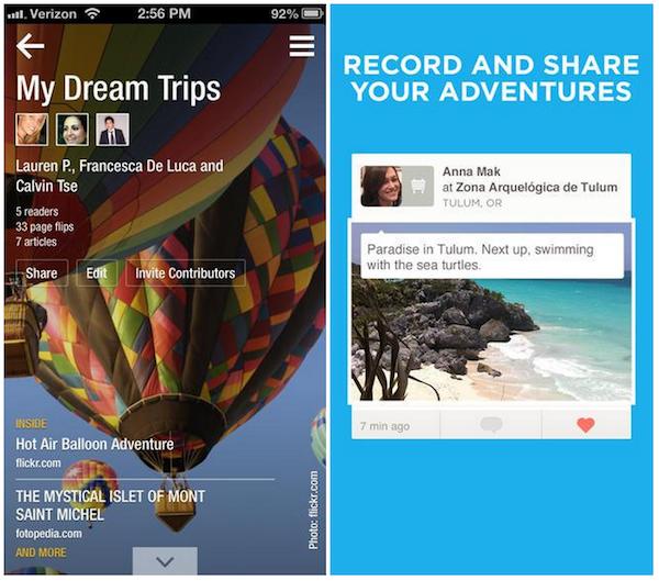 iOS 7 Flipboard Foursquare