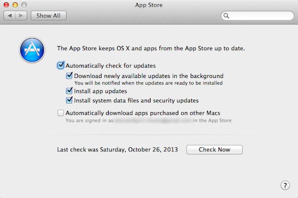 OS X Mavericks:App Automatic Background Updates