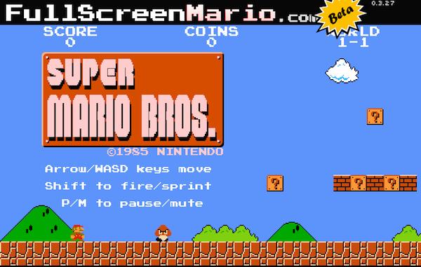 HTML5で作られたスーパーマリオブラザーズ
