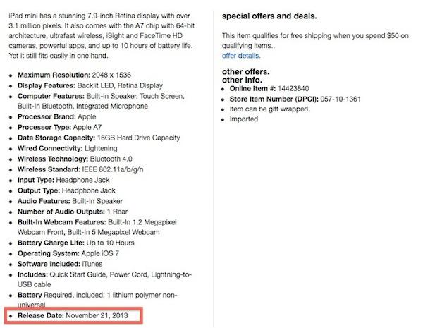 Target retina ipad mini nov21