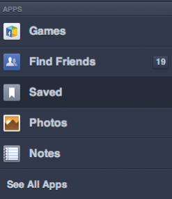 Facebook sidebar saved
