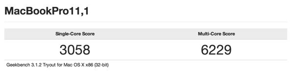 Geekbench Test result for macbook pro retina