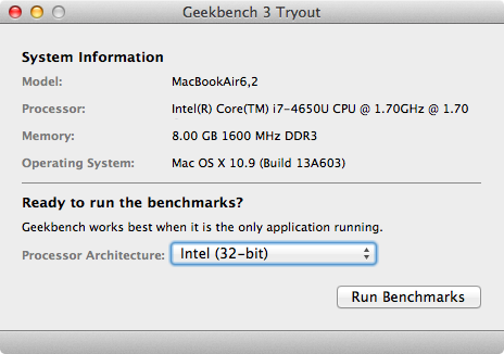 Geekbench Test result for macbook air