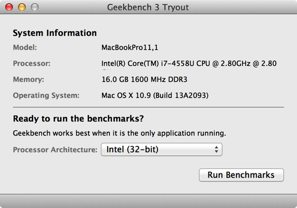 Geekbench Test result for macbook pro retina