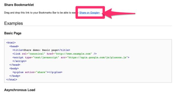 Share bookmarklet google