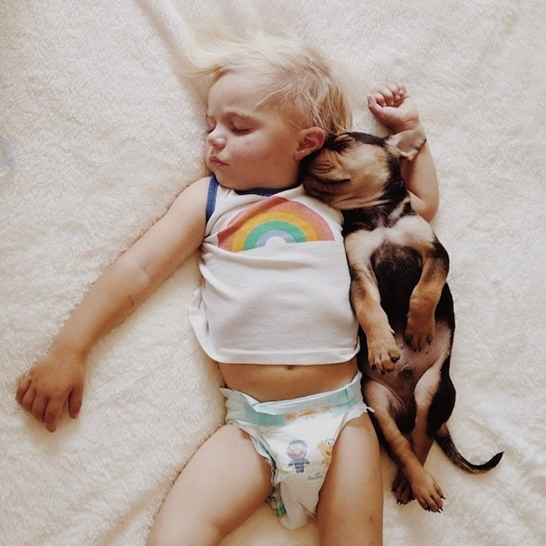 Toddler sleeping with dog