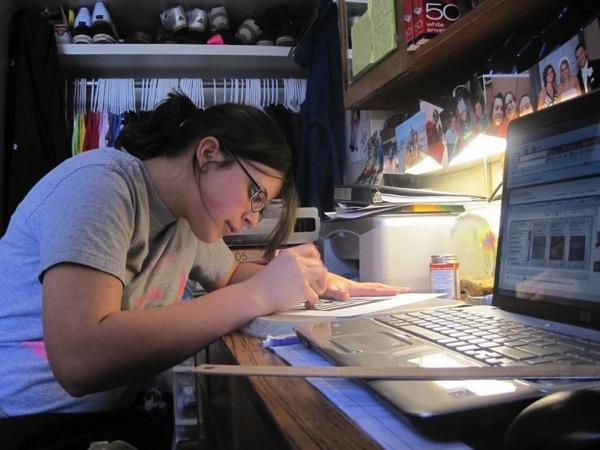 Girl studying very hard
