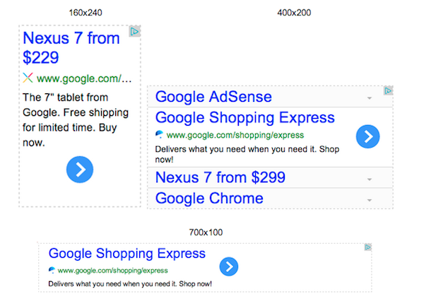 Google adsense custom sizes