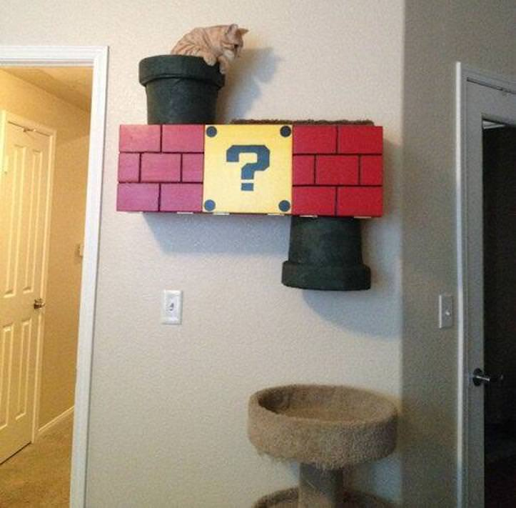 猫の遊び場をマリオ風にしてみたと話題に!