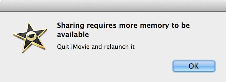 Imovie more memory
