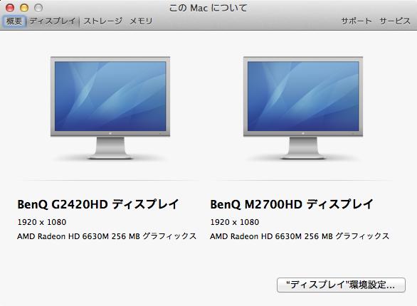 Macに接続しているディスプレイのメーカー名や解像度などの情報を確認する方法