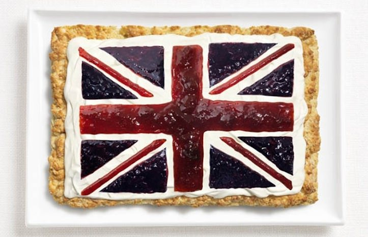 National flags with food