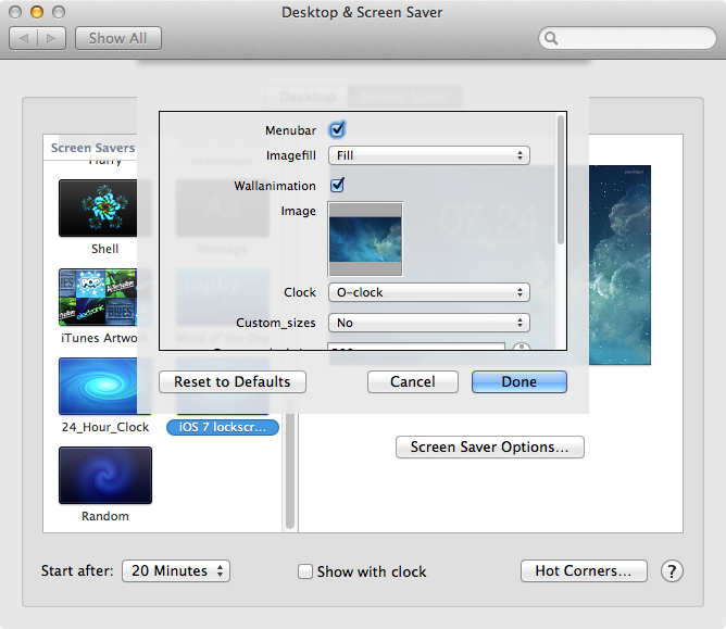 iOS 7 screensaver for mac OS X