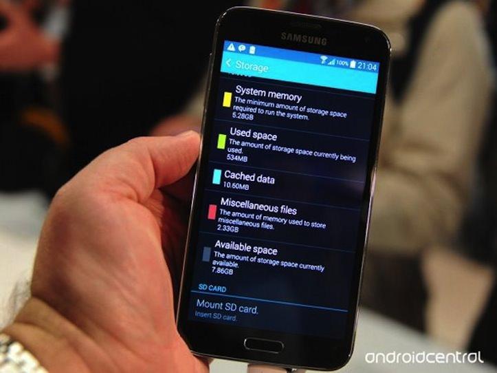 Samsung galaxy s5 storage