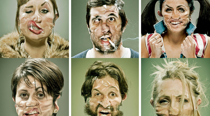 Faces with scotch tape
