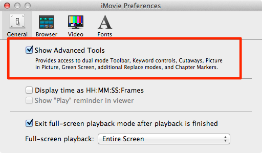 iMovie advanced tools