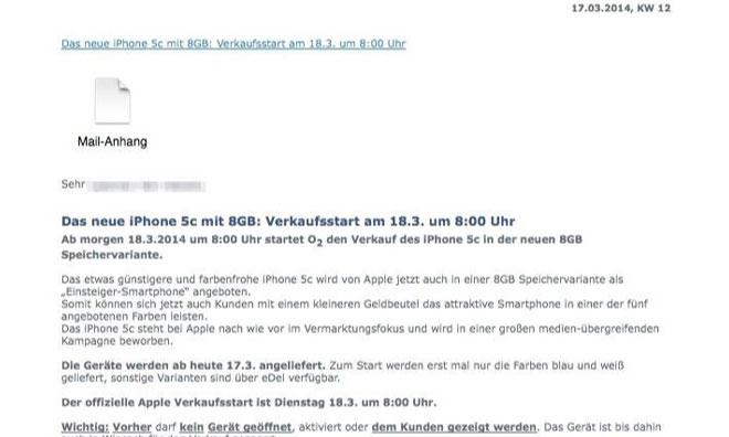 iPhone 5c 8gb mail