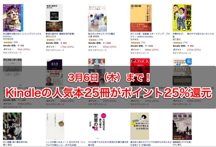 Kindle 25%還元セール
