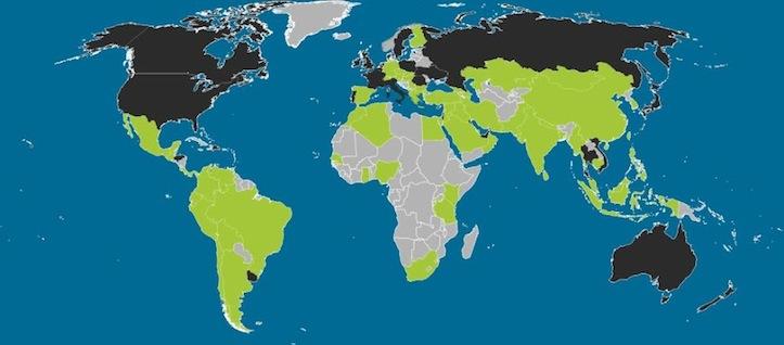 世界地図で見るiOSとAndroidの利用分布