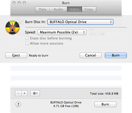 Mac用アプリケーション「Burn」を使ってプレイヤーで再生できるDVDを焼く方法