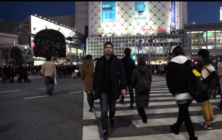 Walking backwords in tokyo