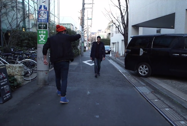 Walking backwords in tokyo