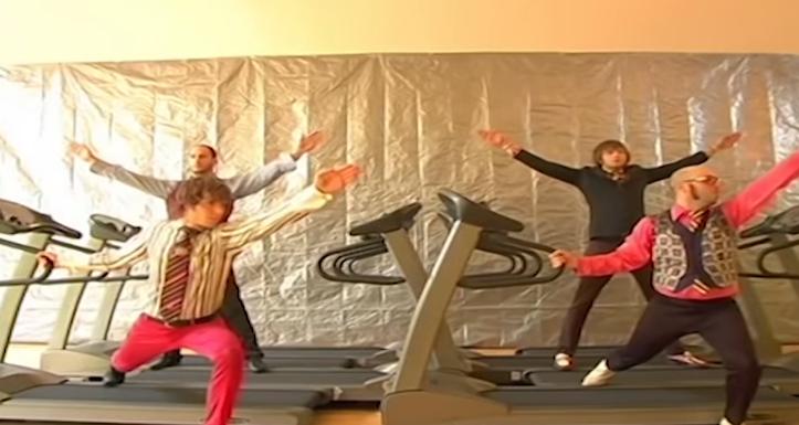 Guys jumping around on tredmills