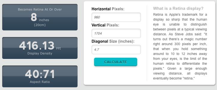 iPhone 6のピクセル密度