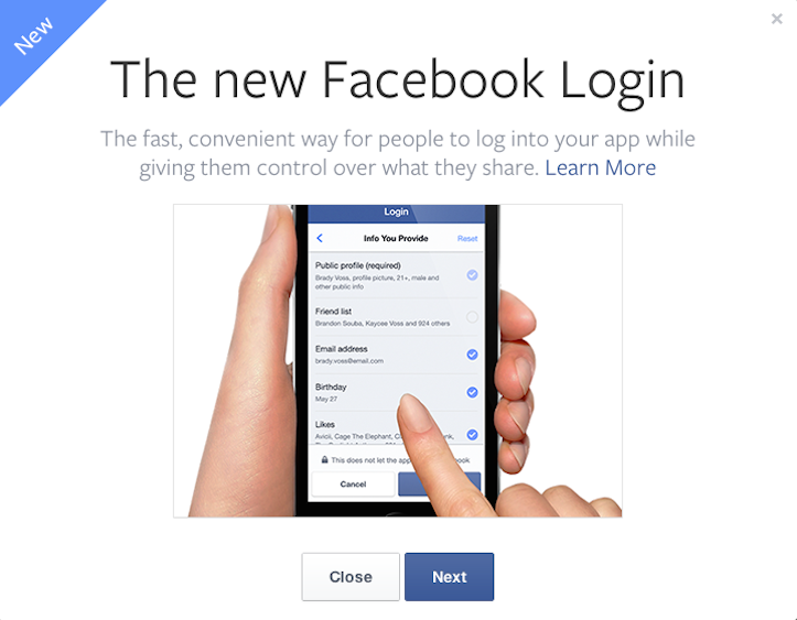 New facebook login