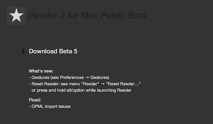 Reeder 2 for mac beta 5