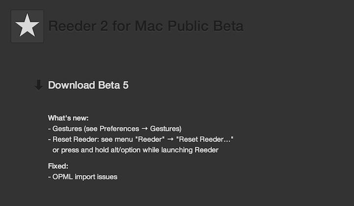 Reeder 2 for mac beta 5