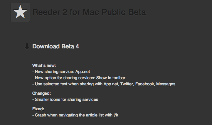 Reeder for mac beta 4