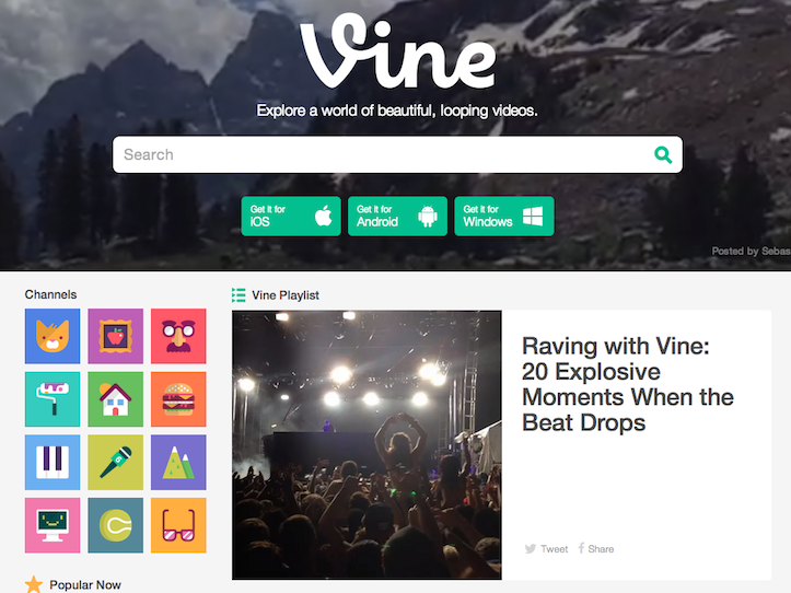 Vine new web view