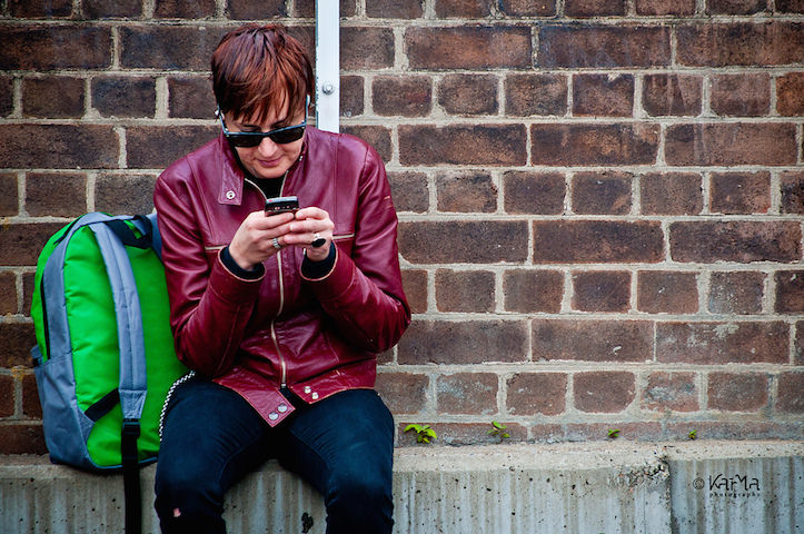 Young using smartphone