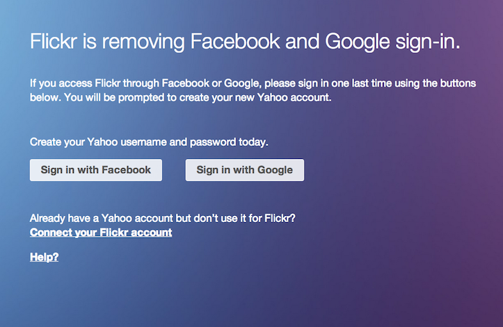 Flickr removing google and facebook logins