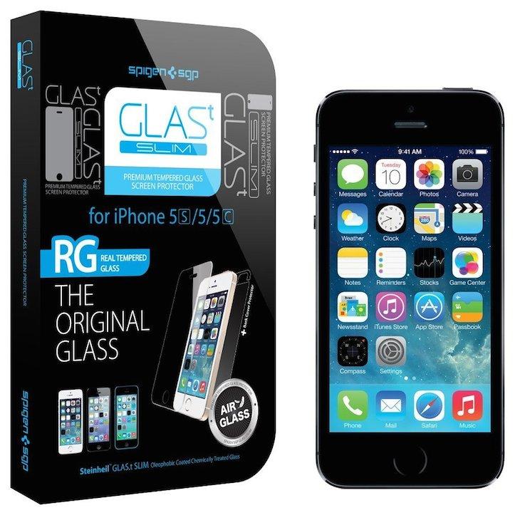 【国内正規品】SPIGEN SGP iPhone5/5S/5C シュタインハイル GLAS.t スリム リアル スクリーン プロテクター(背面保護フィルム同梱)【SGP10112】