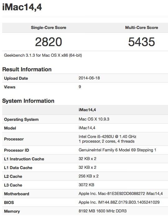 iMac (Mid 2014) benchmark test