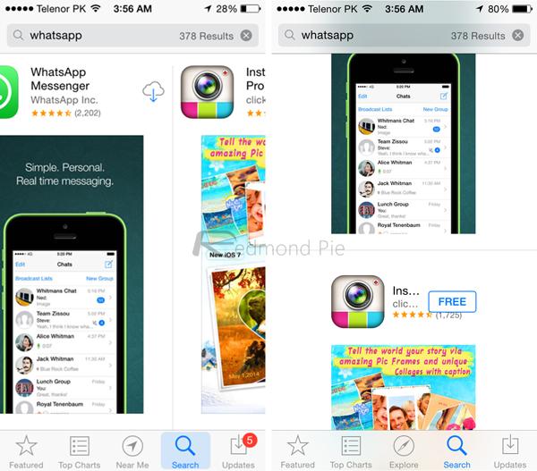 「iOS7」「iOS8」の比較