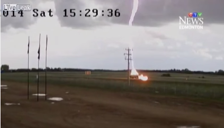 Lightning strikes car