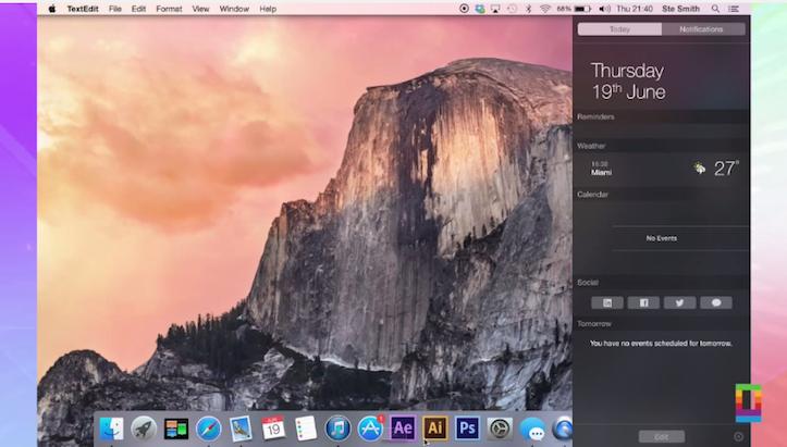 OS X Yosemiteの通知センター