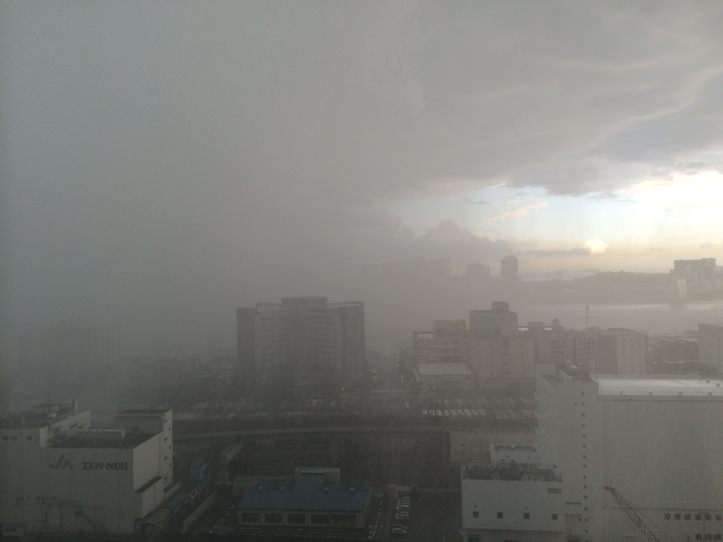 Rain from high building
