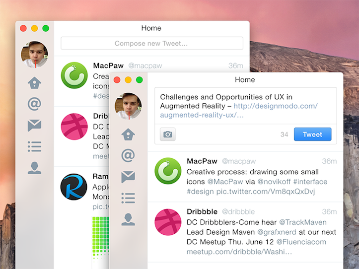 「OS X Yosemite」に最適化されたTwitterのUI